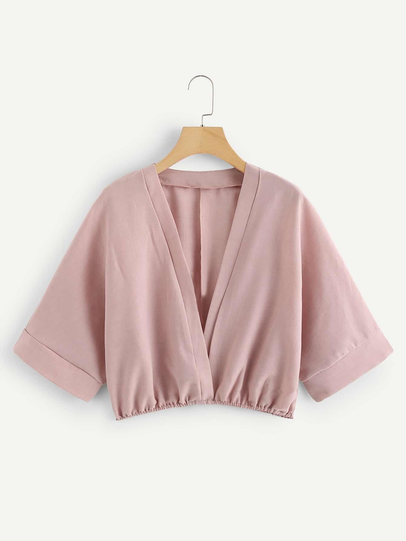 V Neckline Kimono Sleeve Blouse bow sleeve v neckline blouse