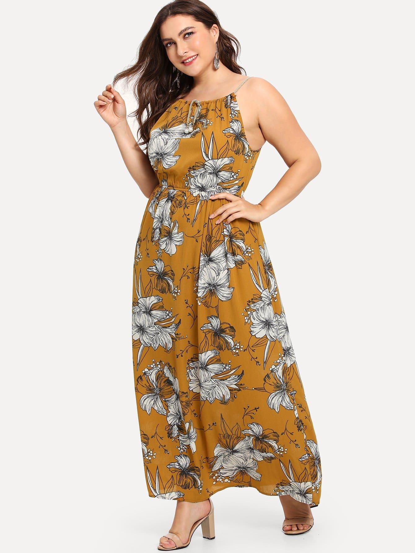 Купить Цветочная печать Drawstring Ruched Талия платье, Franziska, SheIn