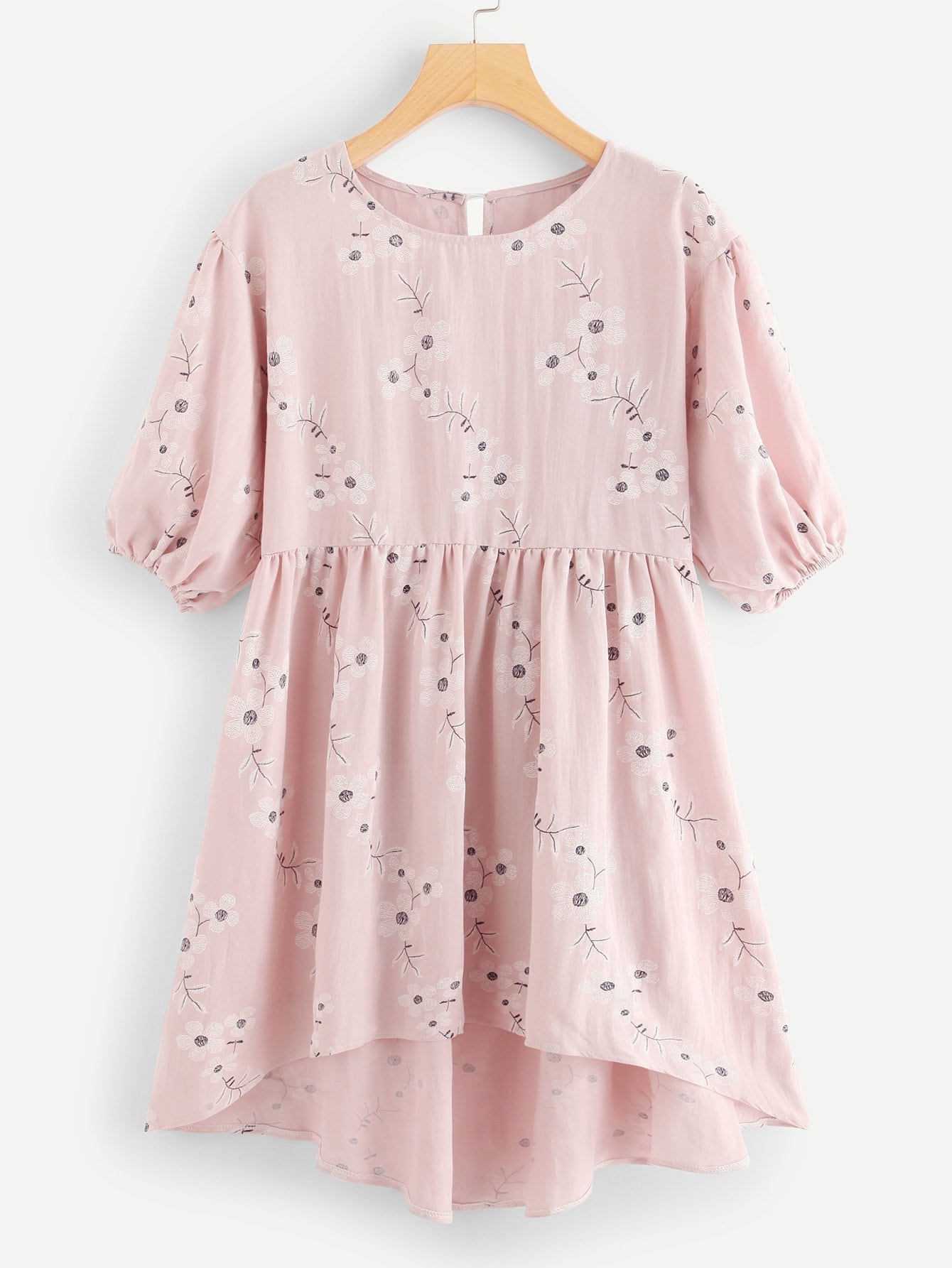 Купить Цветочная печать Dip Hem Dress, null, SheIn