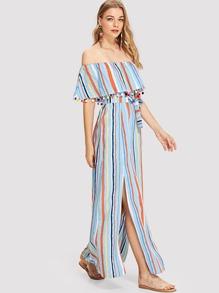 Pom-Pom Trim Split Side Striped Dress