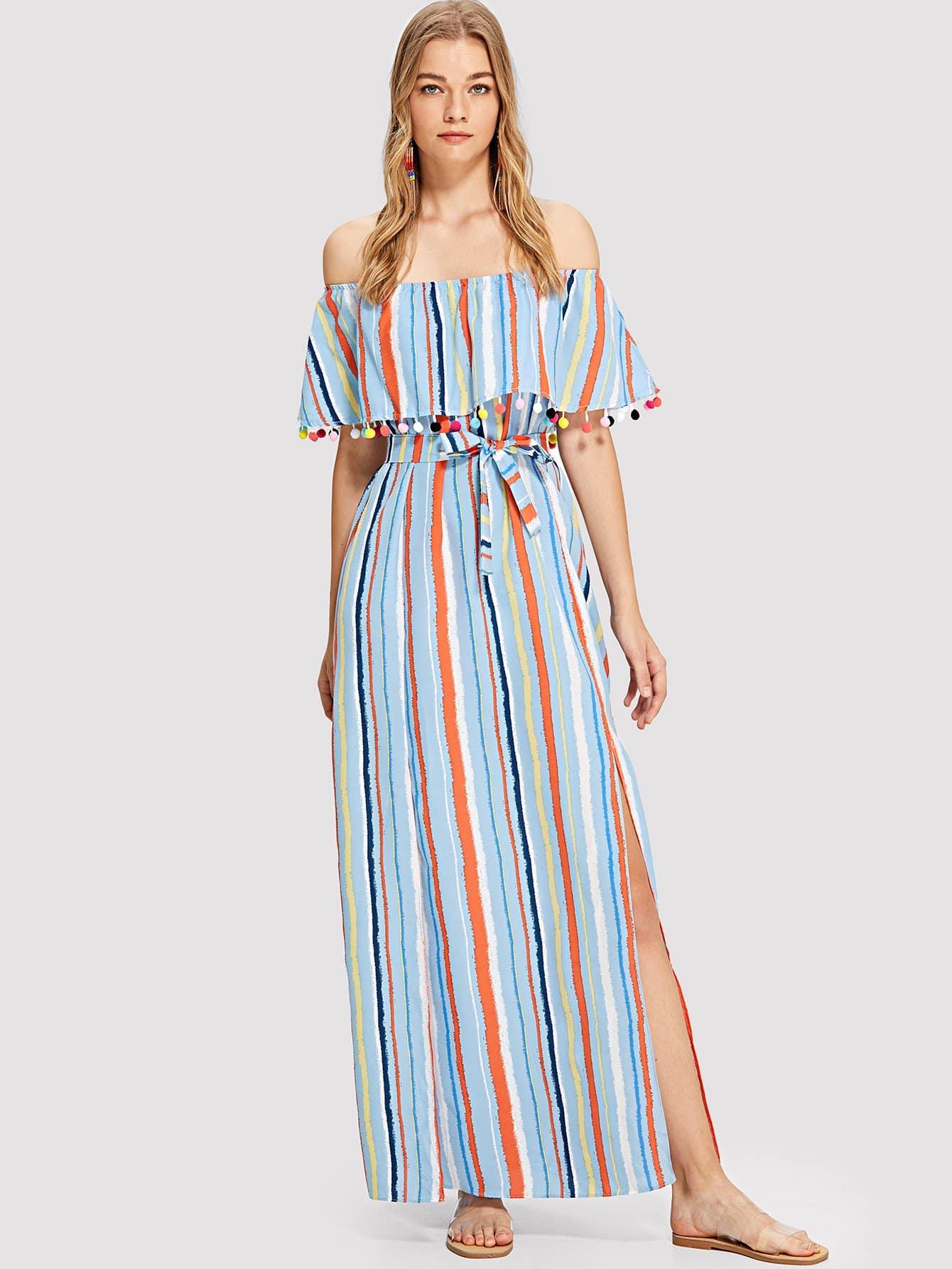 Pom-Pom Trim Split Side Striped Dress pom pom trim striped shorts
