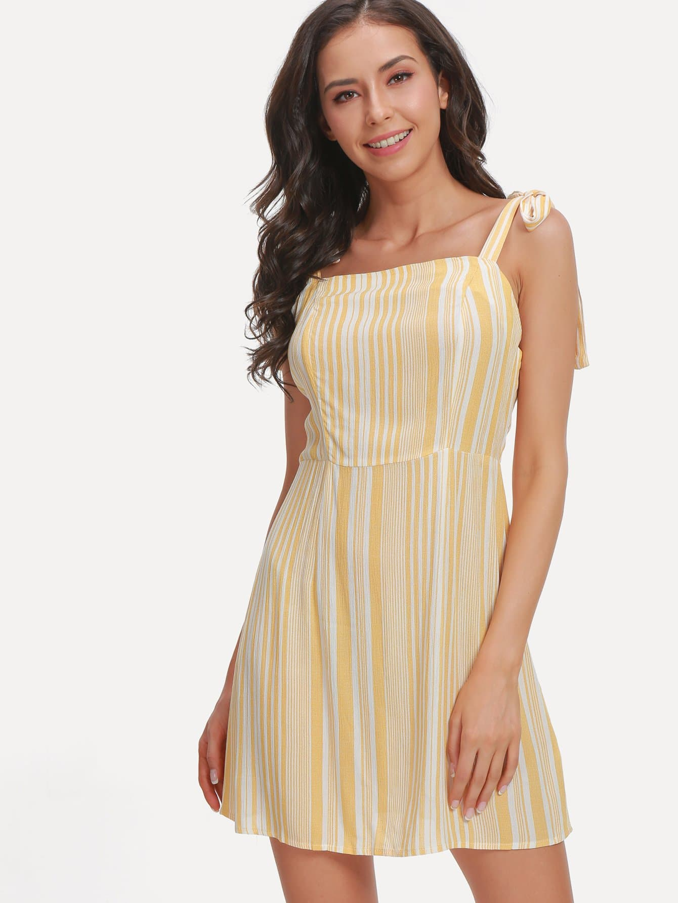 Knot Shoulder Striped Dress one shoulder waist knot split striped dress