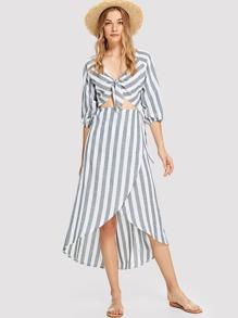 Cut Out Striped Dip Hem Dress