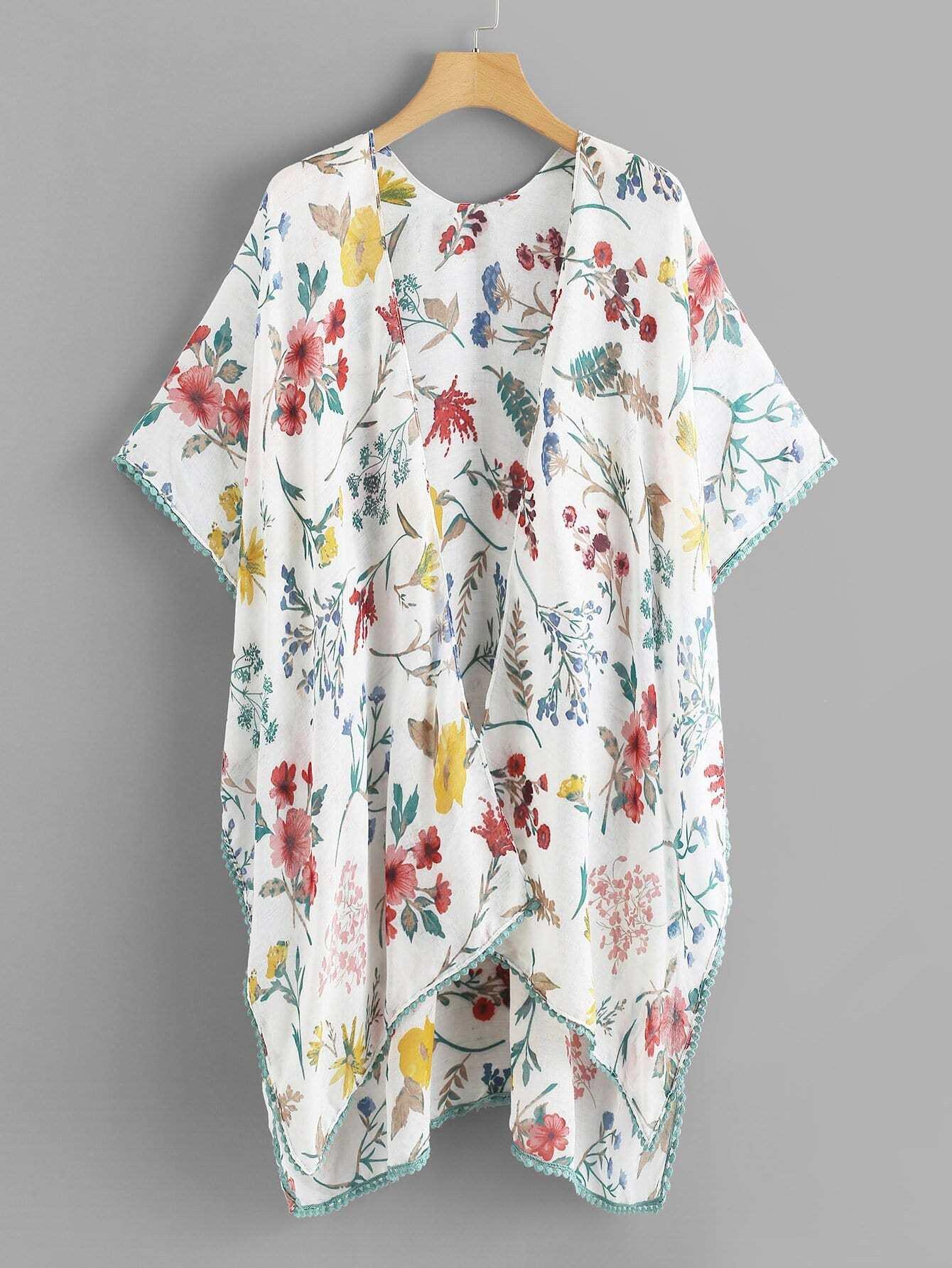 Купить Цветочная печать Dip Hem Kimono, null, SheIn