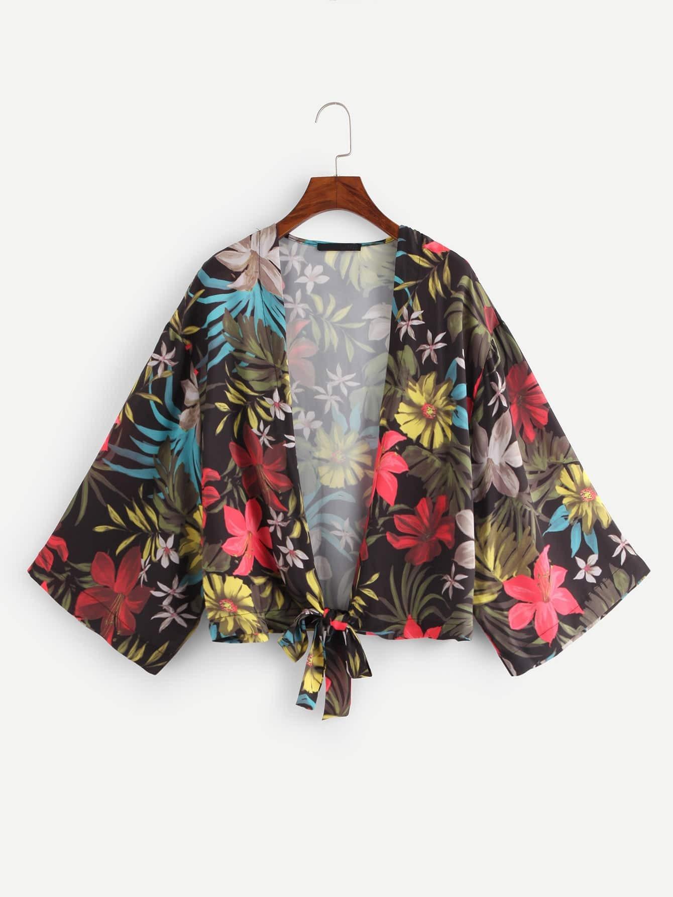 Floral Print Knot Hem Kimono knot hem star print kimono