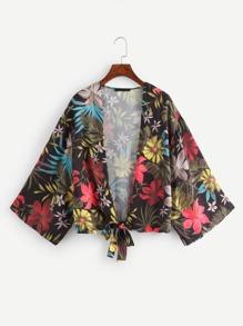 Floral Print Knot Hem Kimono