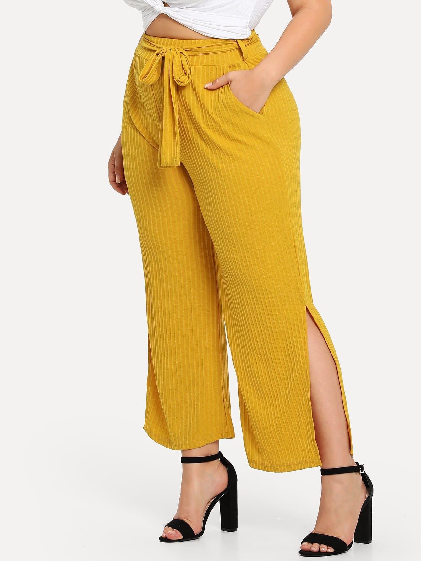 Plus Ribbed Belted Split Side Pocket Pants kangaroo pocket split side dress