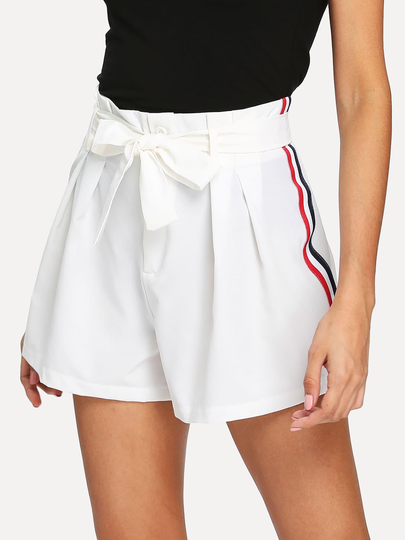 все цены на Self Tie Waist Striped Side Shorts