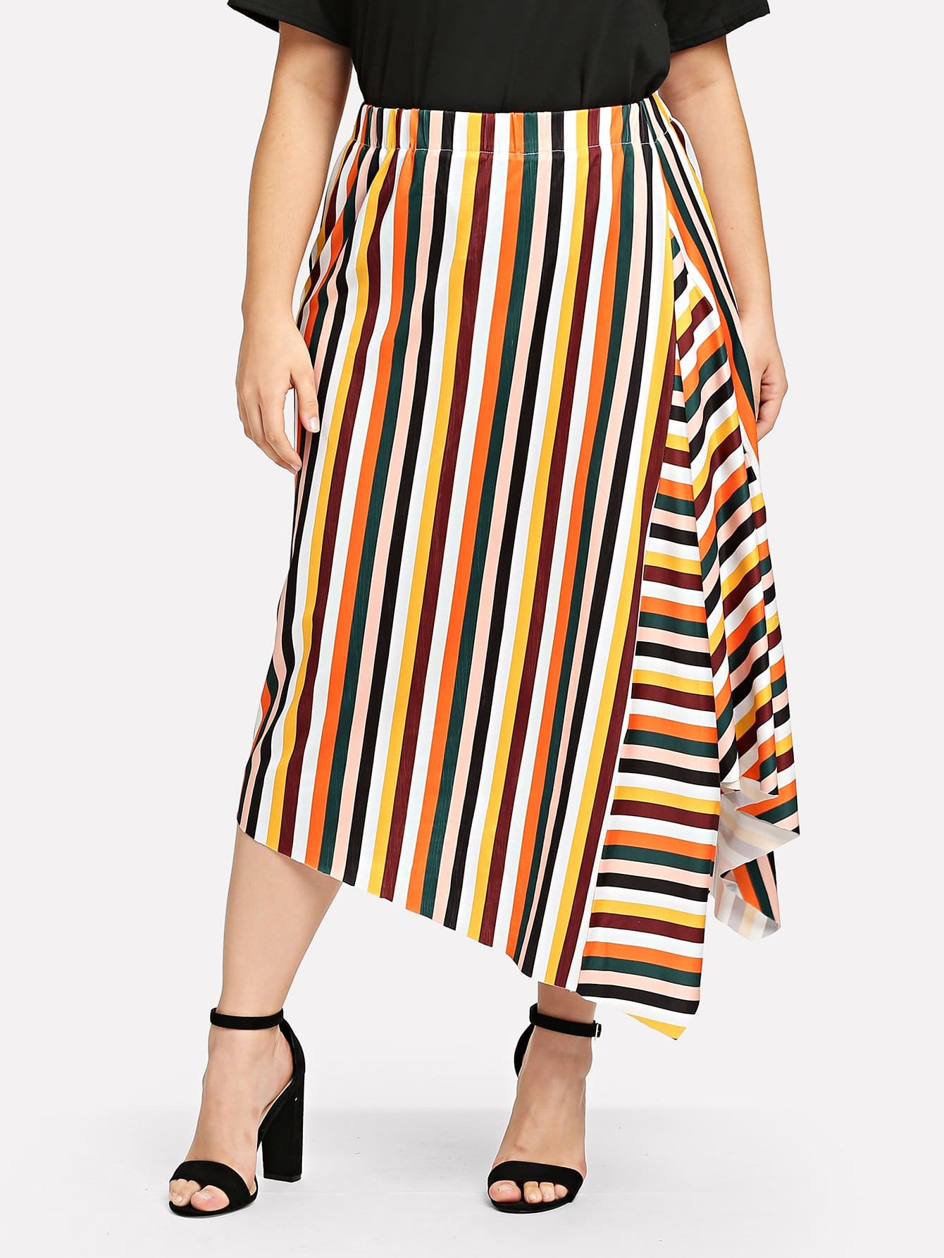 Striped Asymmetrical Skirt шланг walcom 60211