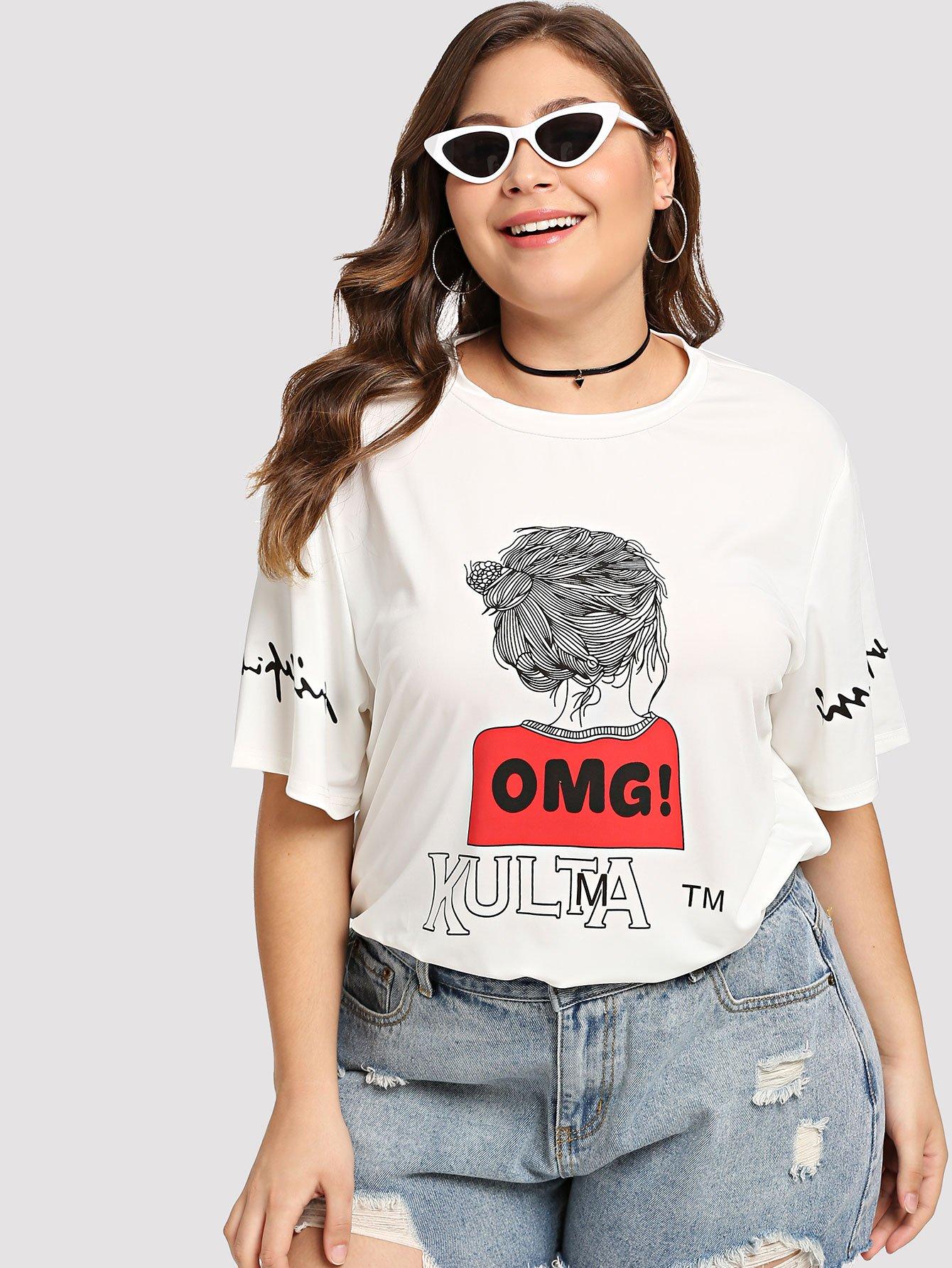 T-Shirt mit Buchstaben und Abbildungmuster