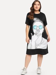Plus Figure Print Tee Dress
