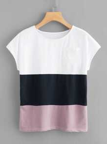 Chest Pocket Color Block Tee