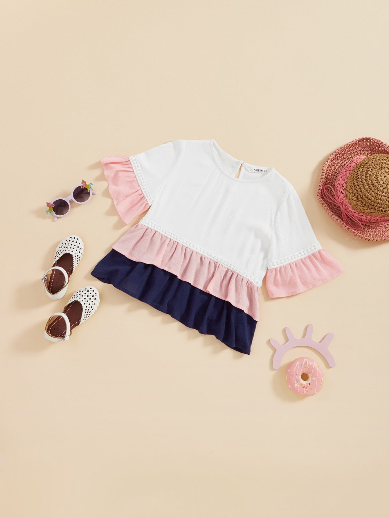 Кнопка Back Ruffle Trim Color Block Top