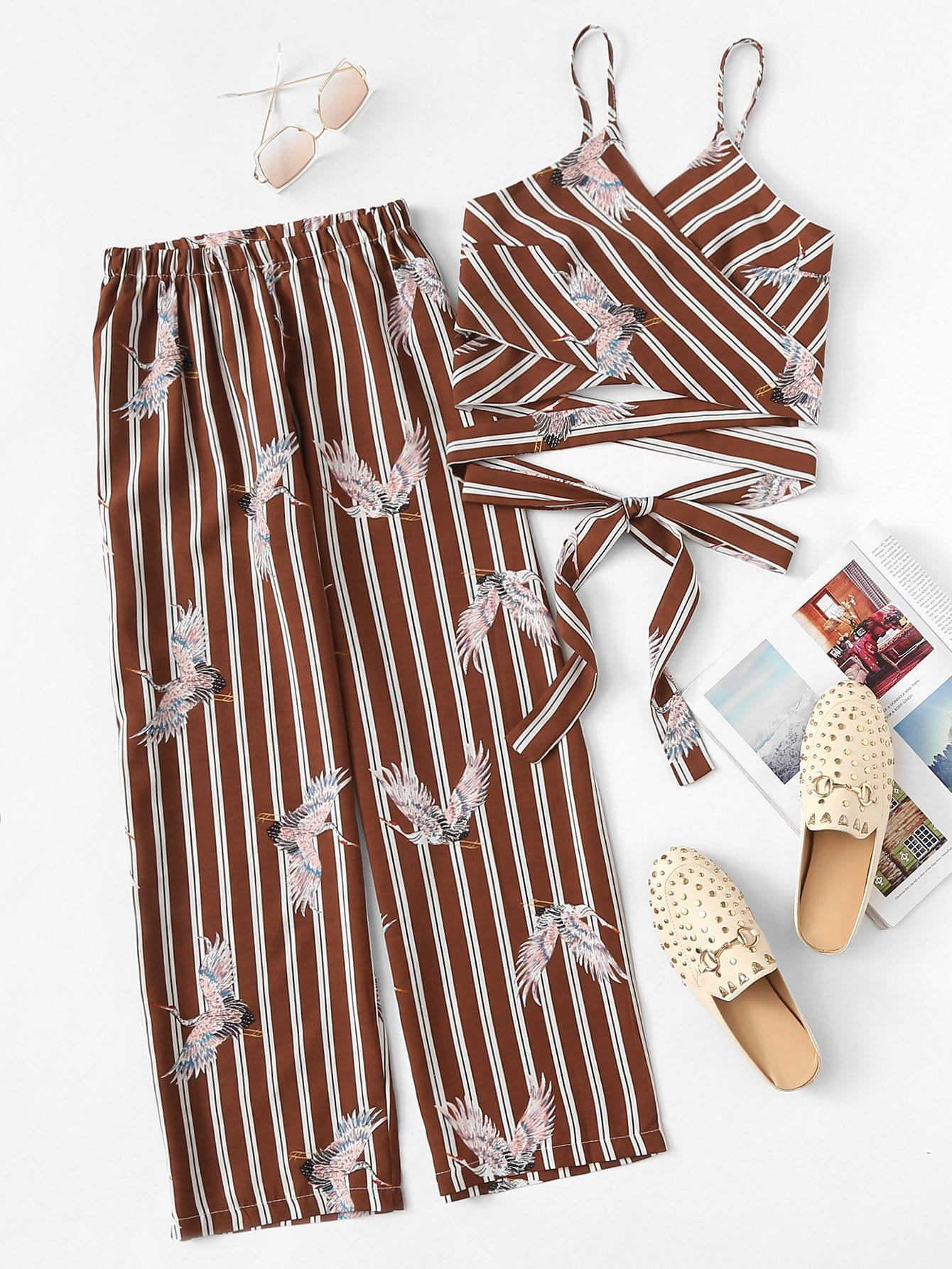 Купить Вырезанная полосатая ками с брюками, null, SheIn