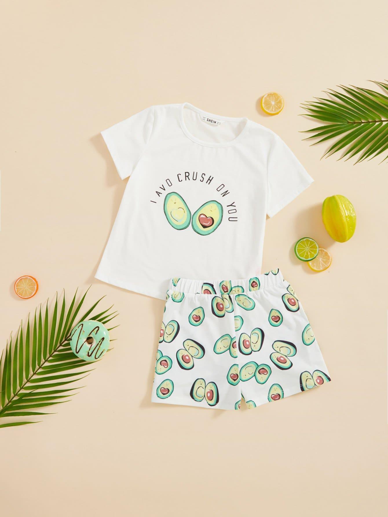 Купить Комплект для печати и печати фруктов и писем Top & Shorts Set, null, SheIn
