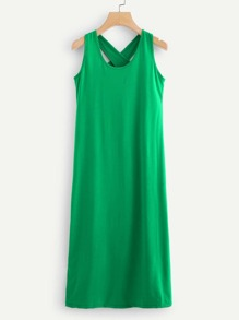 Cross Back Plain Dress