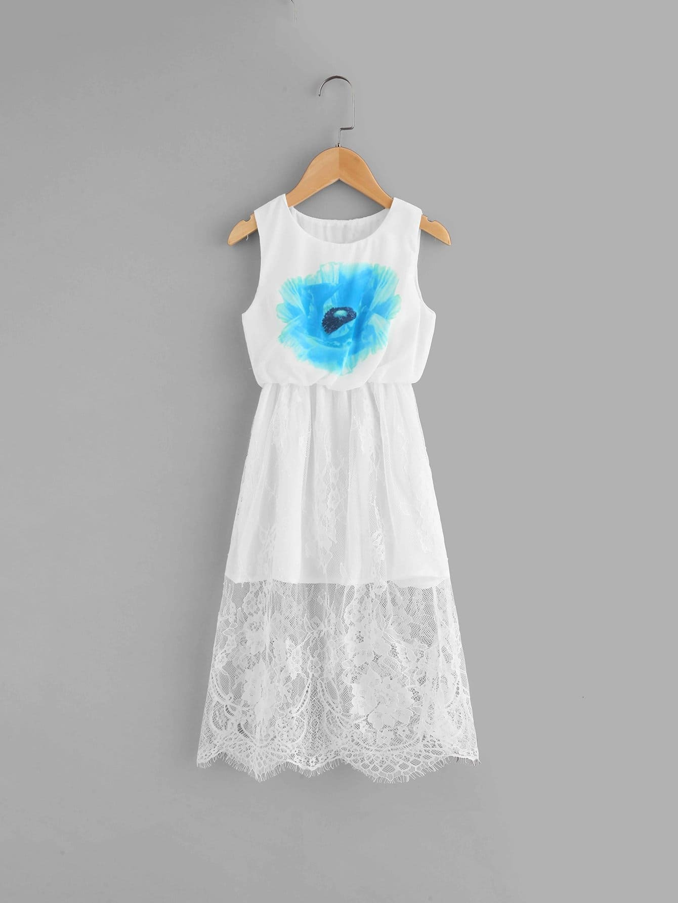 Girls Floral Print Lace Overlay Dress lace overlay fit and flare dress