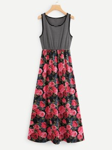 Rose Print Contrast Striped Dress