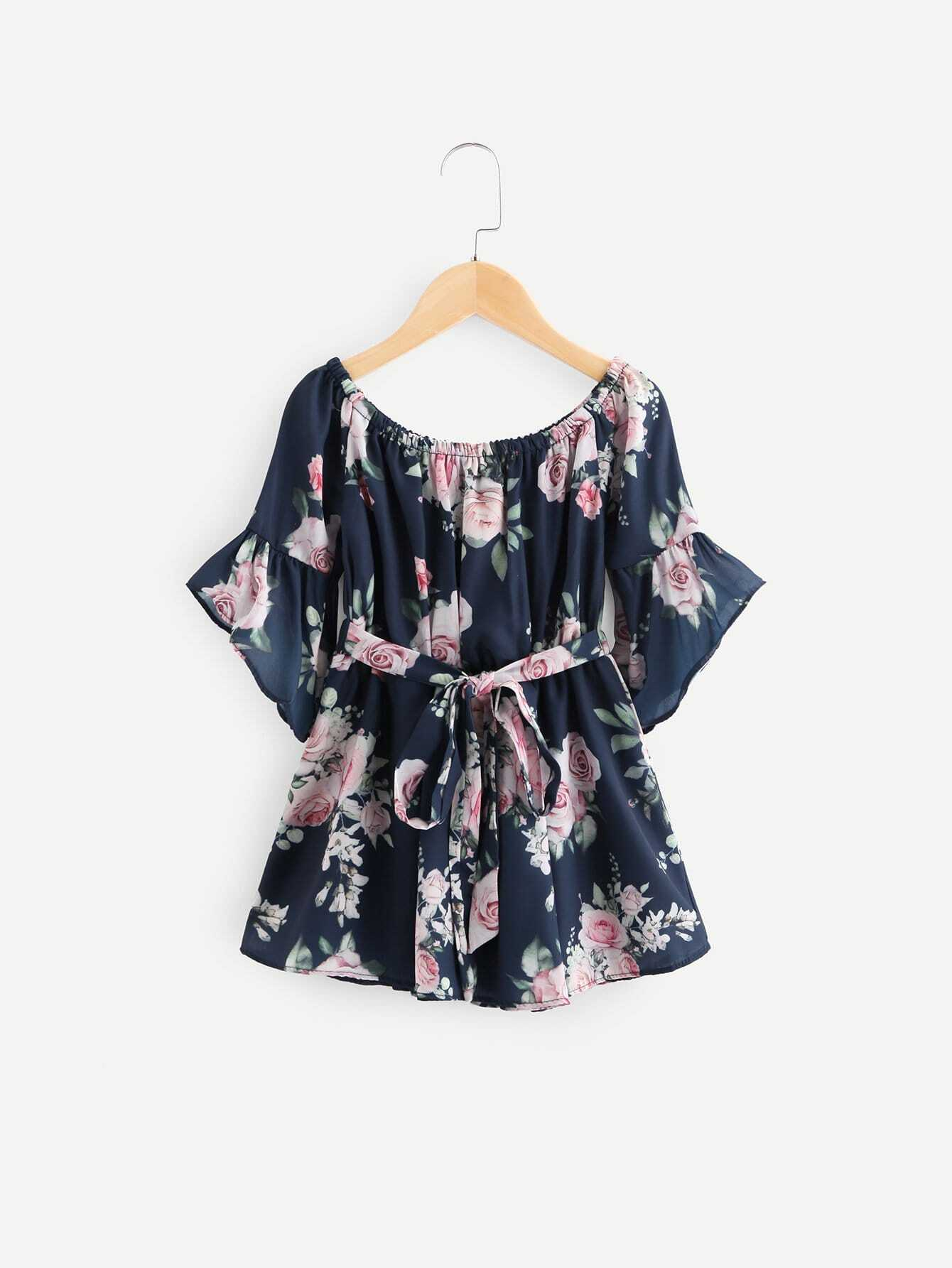 цена на Girls Floral Print Ruffle Dress