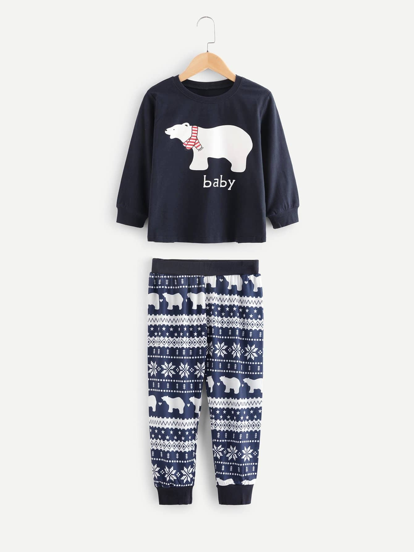 Kids Polar Bear Print Blouse With Pants kids cows print pullover with pants