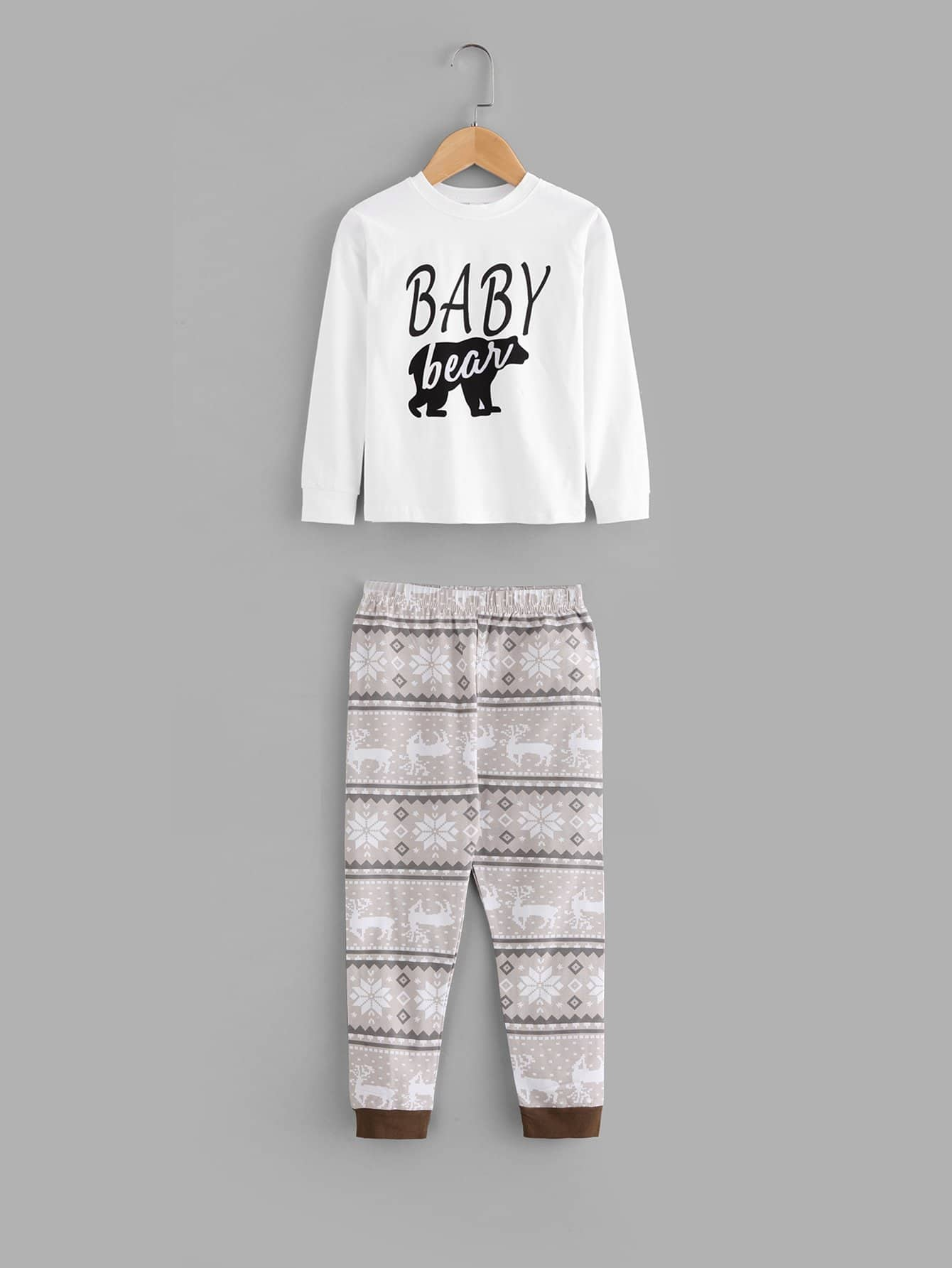 Kids Letter Print Blouse With Deer Print Pants kids cows print pullover with pants