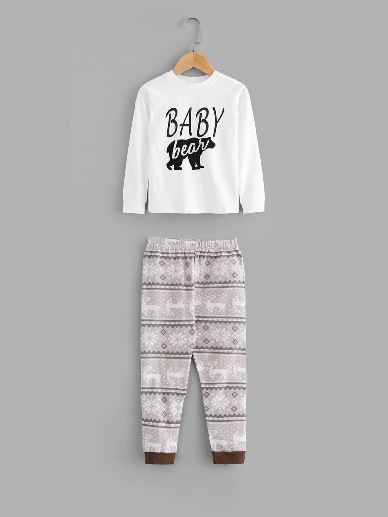 Kids Letter Print Blouse With Deer Print Pants kids star and letter print striped blouse