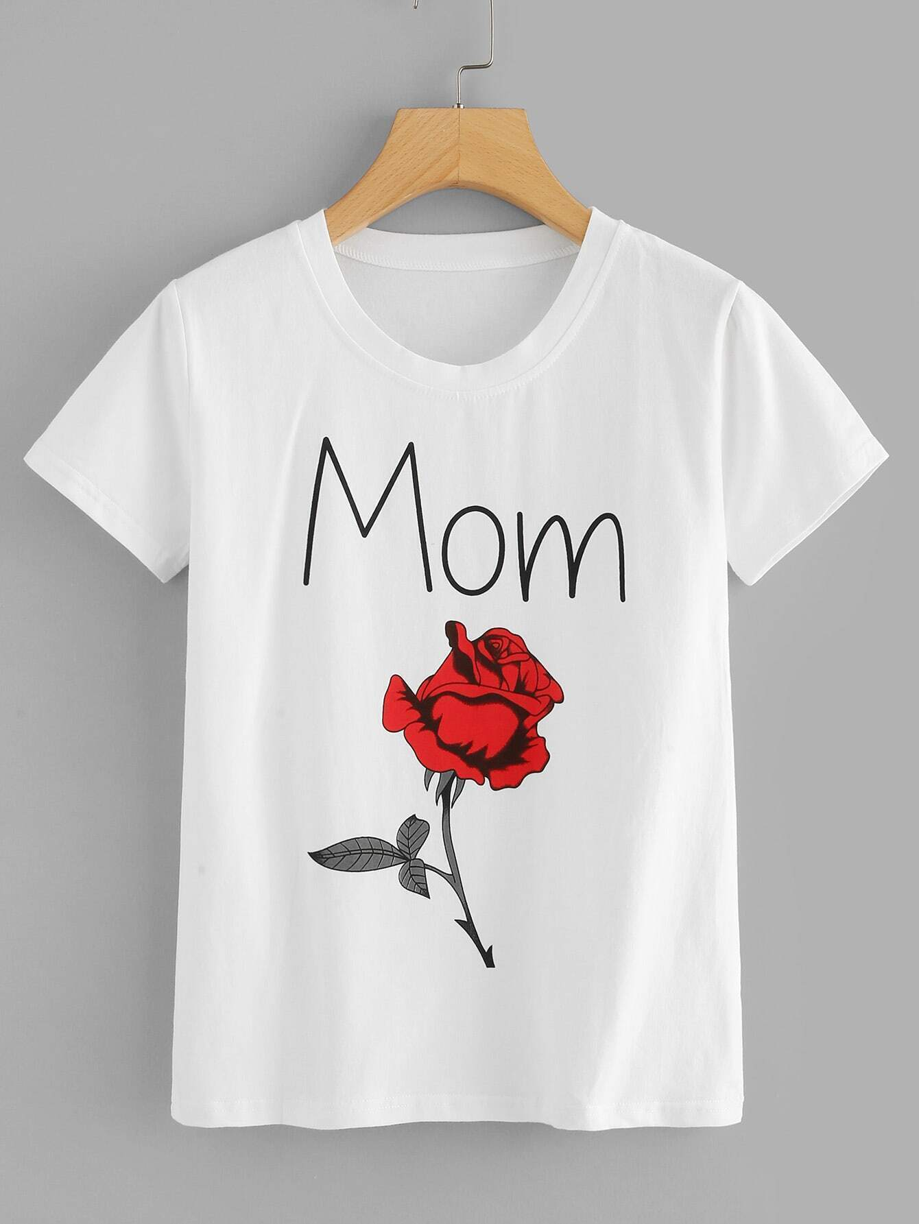 Letter And Rose Print Tee rose and letter print ripped tee