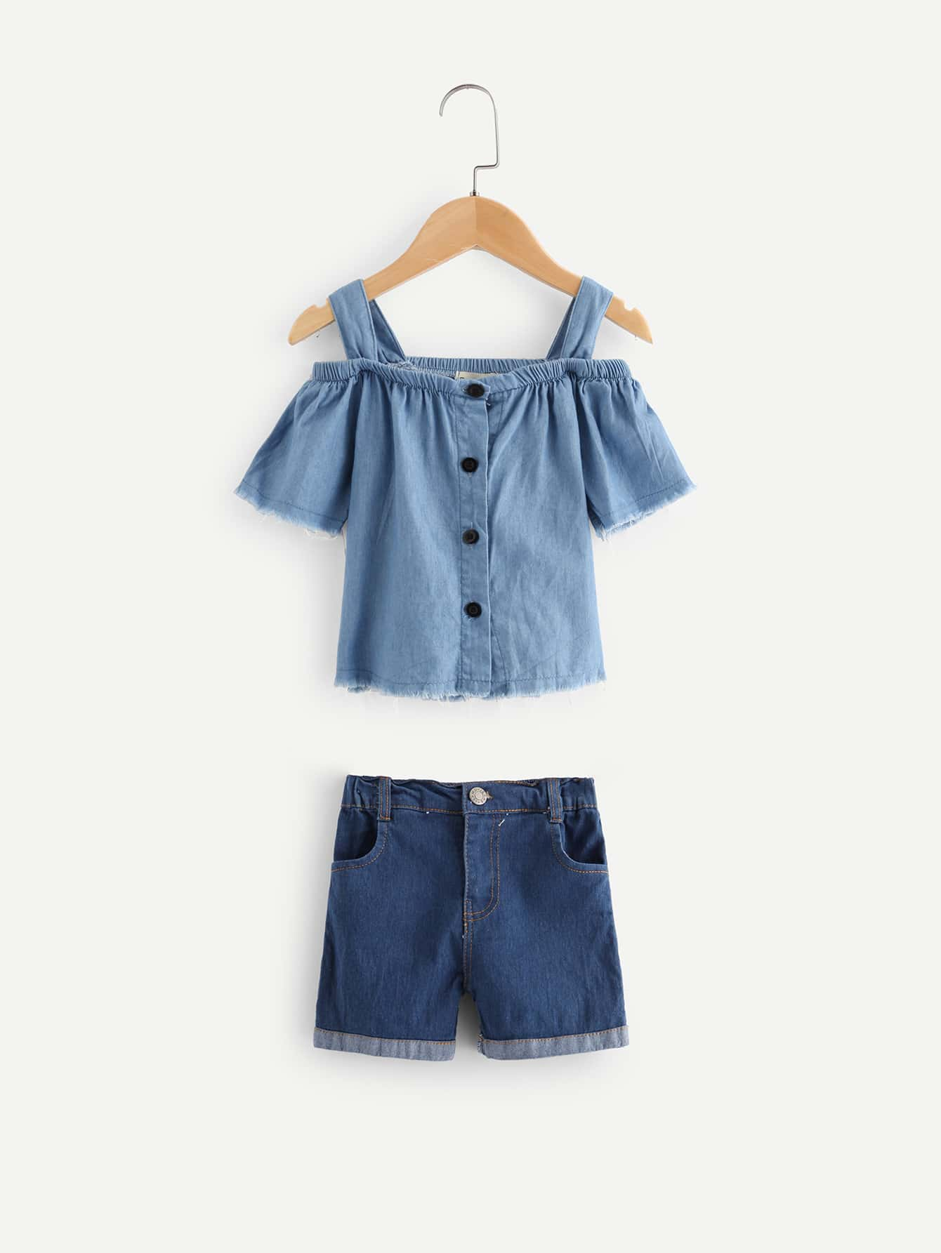 Kids Button Decoration Cami Blouse With Rolled Hem Denim Shorts button decoration cami with drawstring shorts