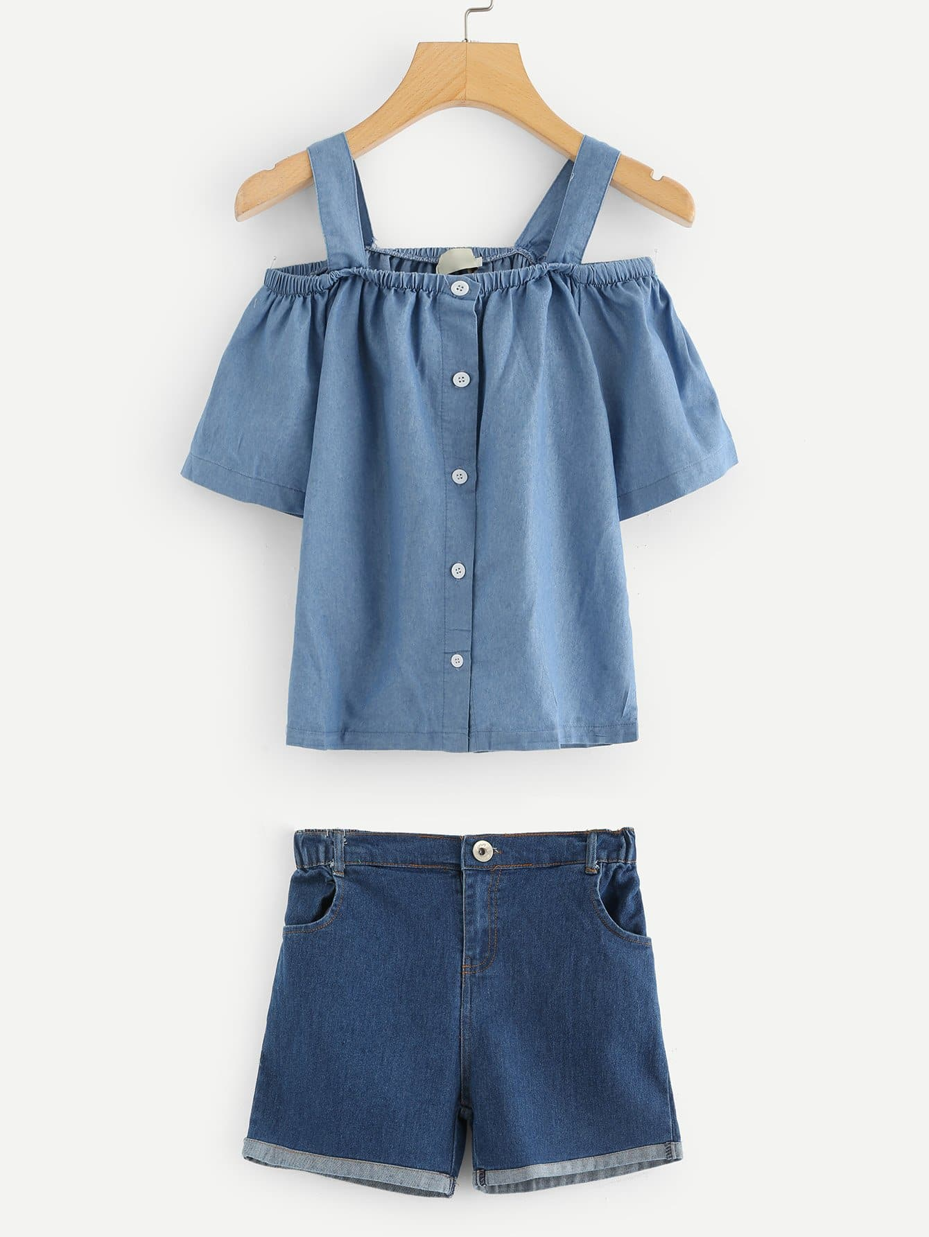 Button Decoration Cami Blouse With Rolled Hem Denim Shorts button decoration cami with drawstring shorts