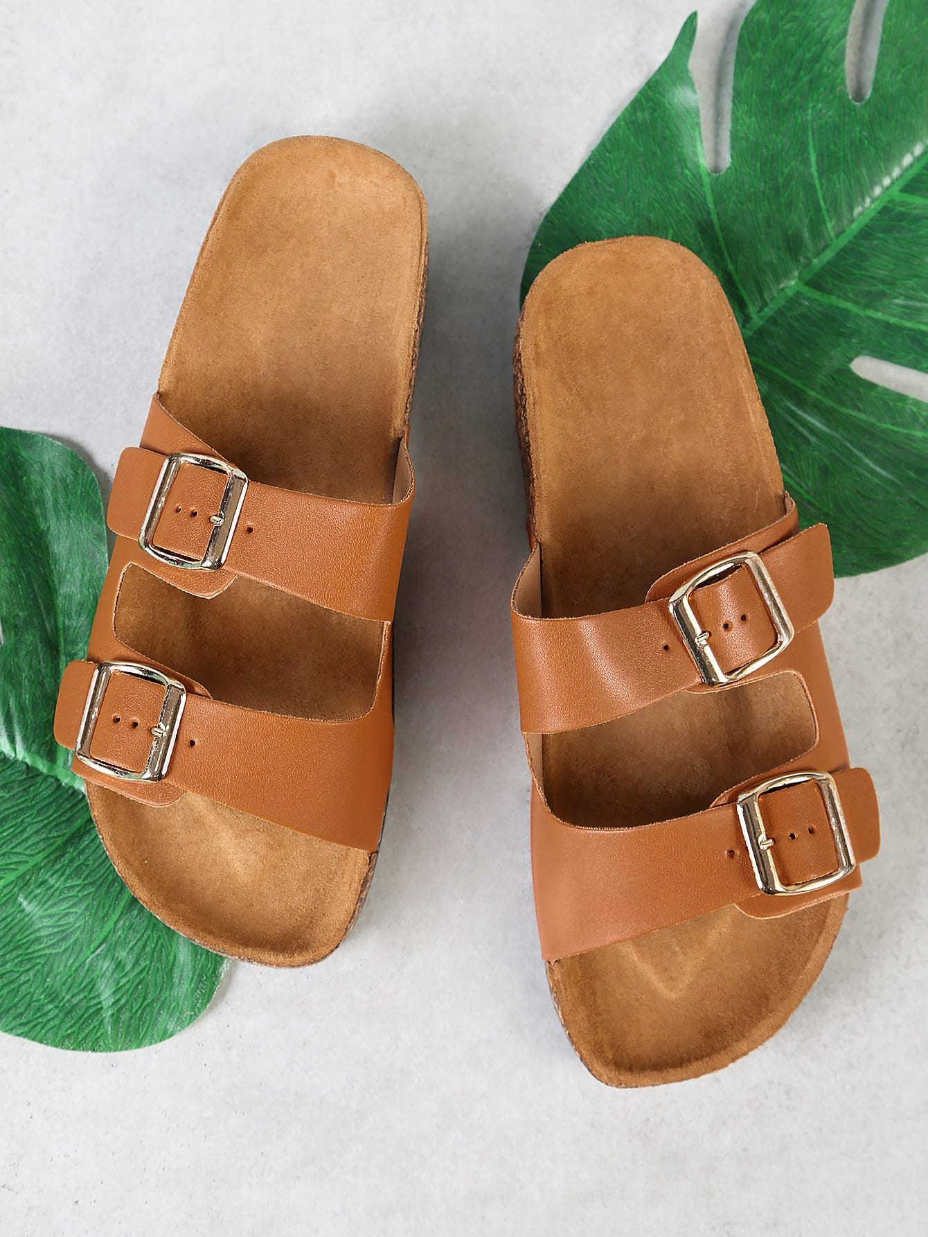 Double Buckle Cork Footbed Slide Sandal TAN double band slide sandal black