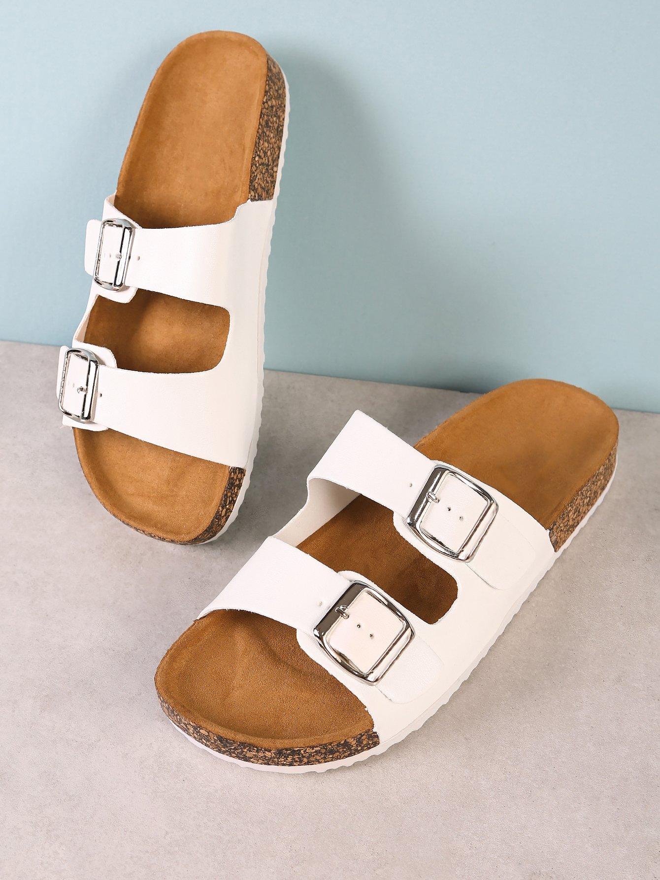 Double Buckle Cork Footbed Slide Sandal WHITE double band slide sandal black