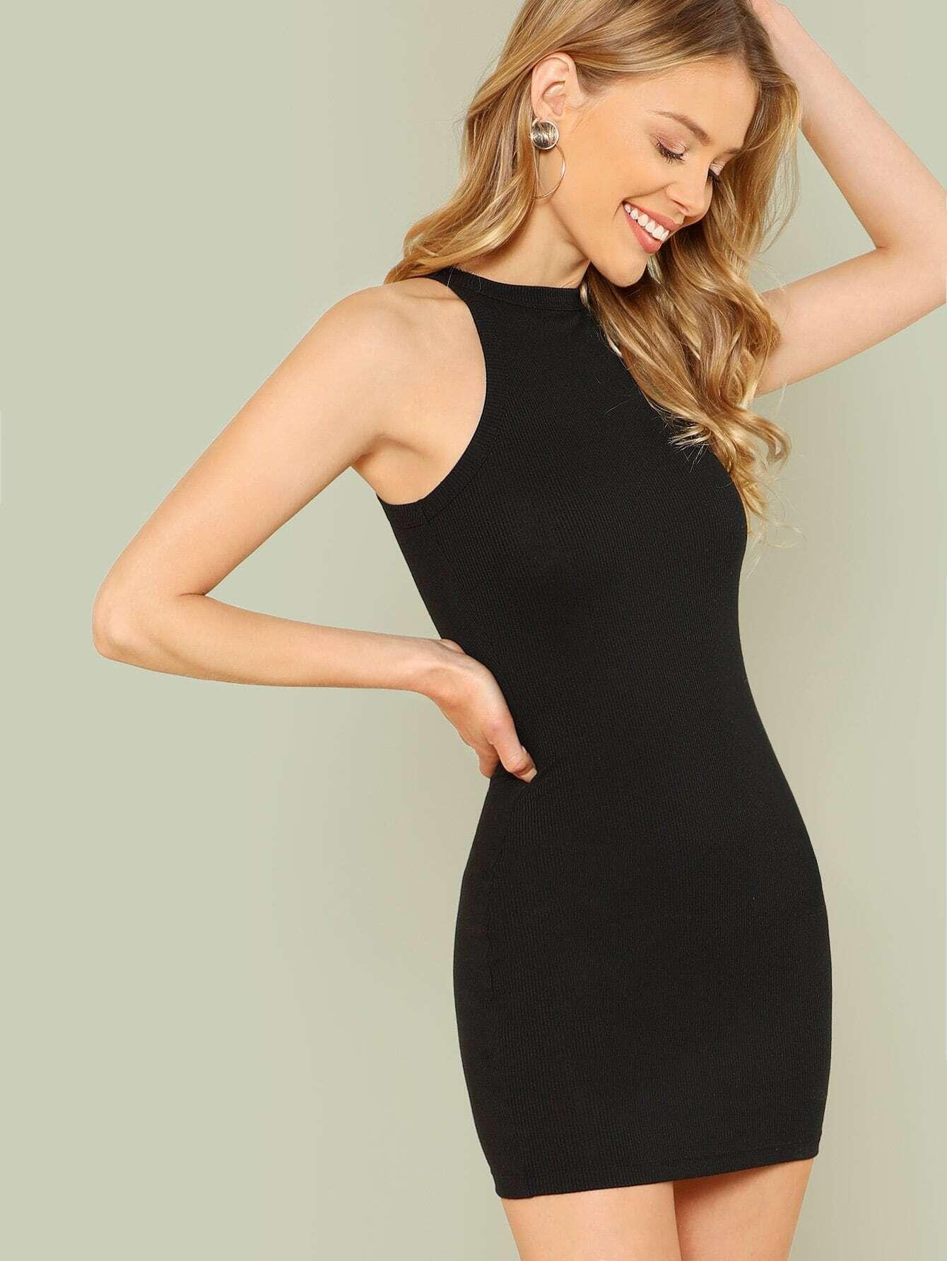 Купить Однотонное платье с ложным воротником, Allie Leggett, SheIn