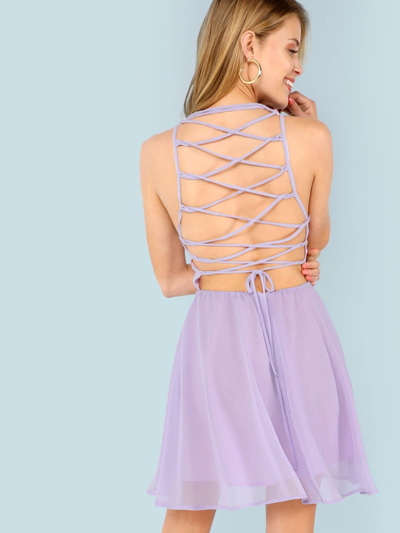 Lace Up Open Back Flare Halter Dress lace up open back flare jumpsuit