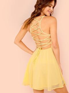 Lace Up Open Back Flare Halter Dress
