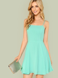Solid Fit & Flare Cami Dress