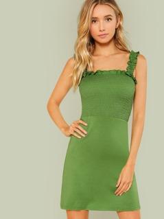 Frill Strap Shirred Bodice Dress