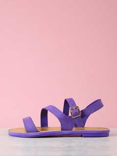 Asymmetrical Faux Suede Ankle Strap Flat Sandal