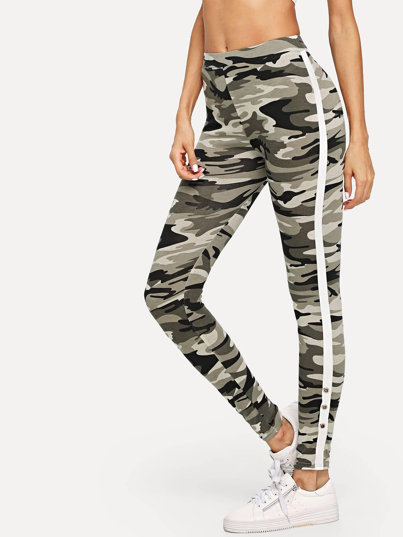 Tape Side Camo Leggings lettering tape side skinny leggings