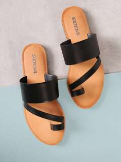 Toe Ring Asymmetrical Slide Sandal