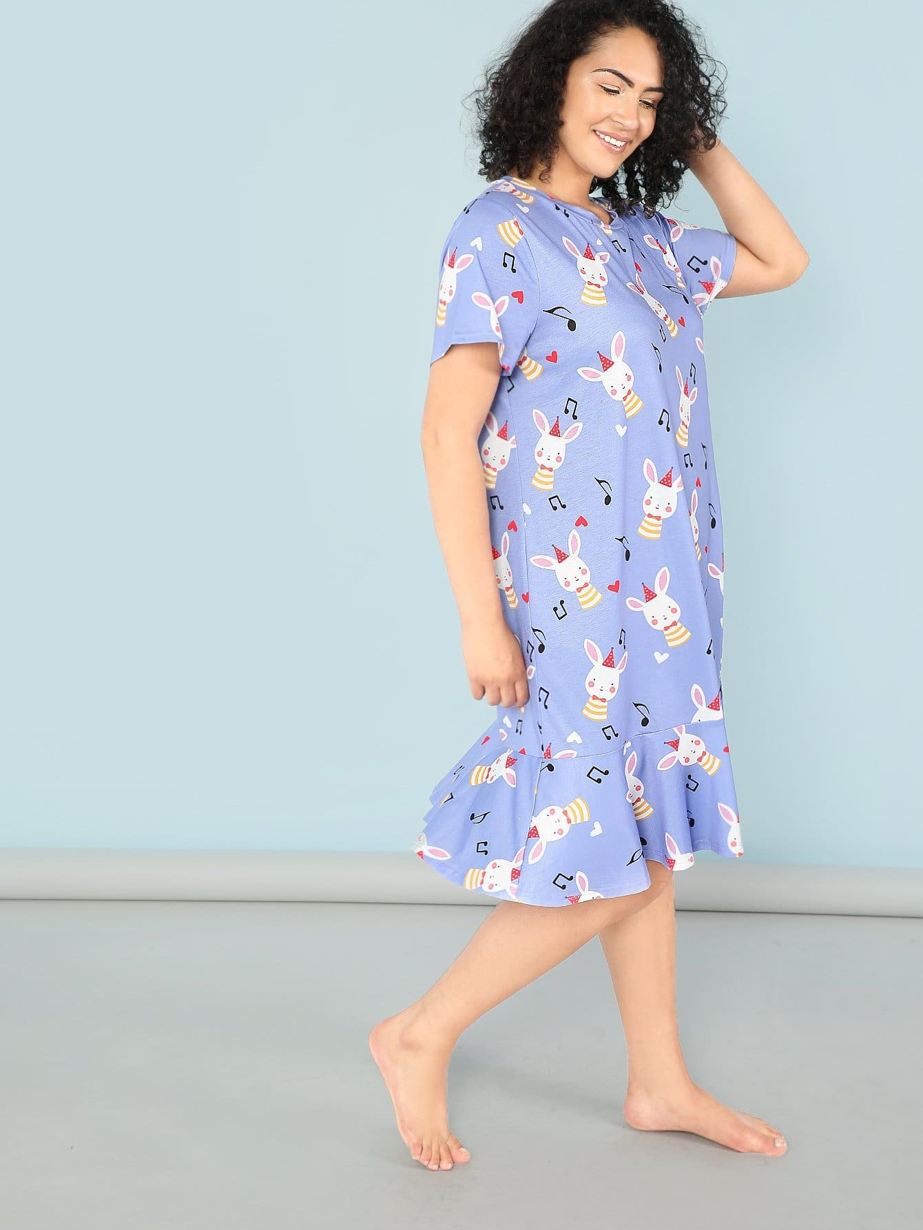 Mixed Print Ruffle Hem Night Dress mixed print dress