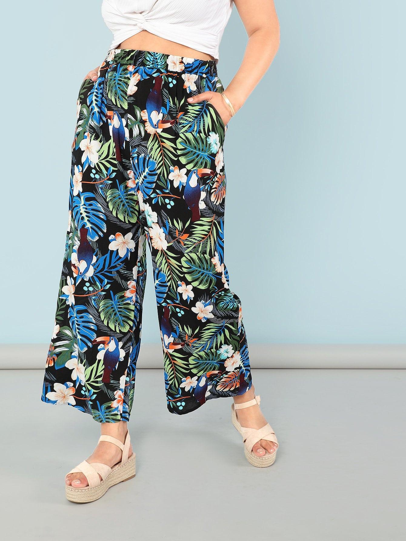 Jungle Leaf and Floral Pants flamingo and jungle leaf print top and pants pajama set