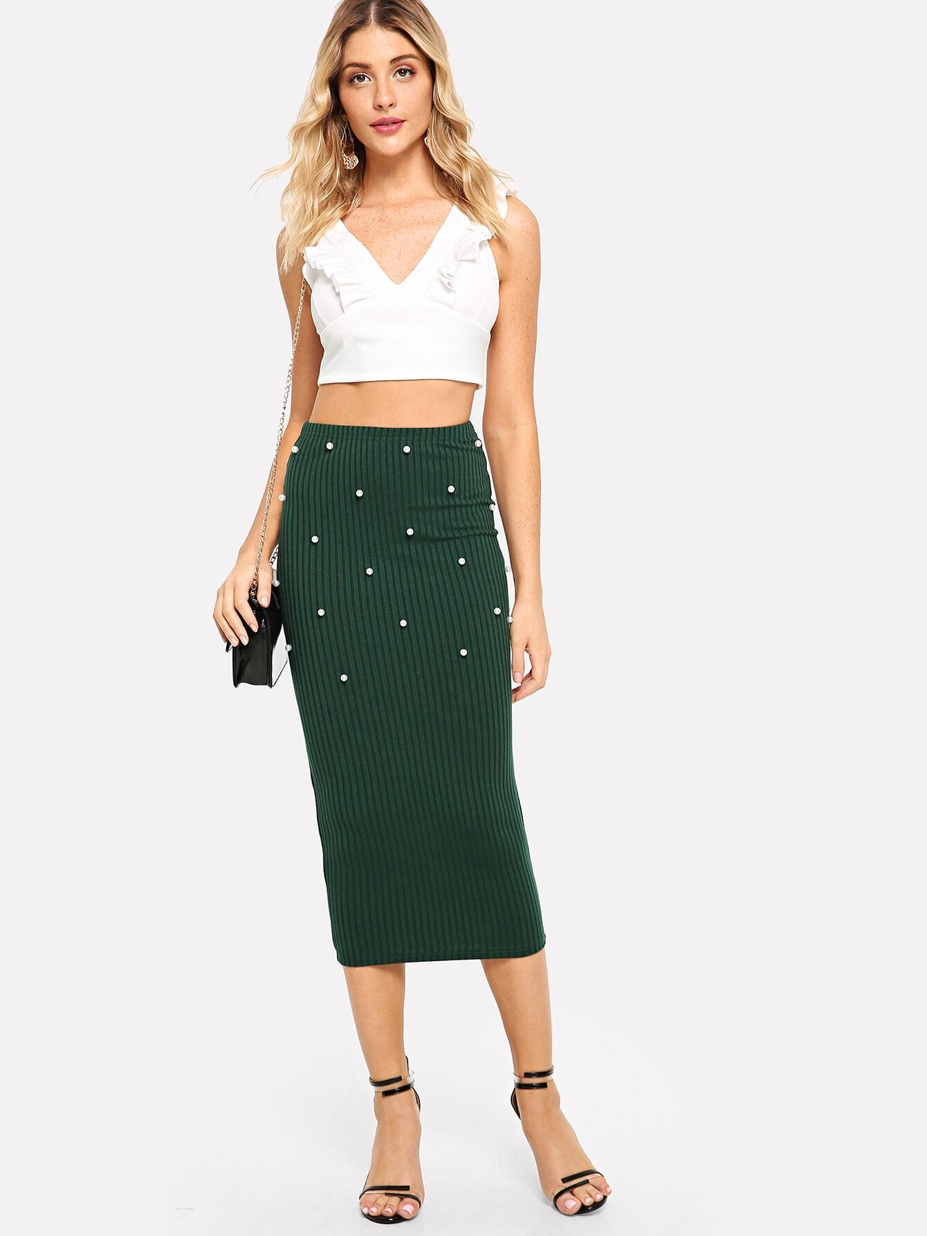 Pearl Embellished Rib Knit Bodycon Skirt rib knit tights