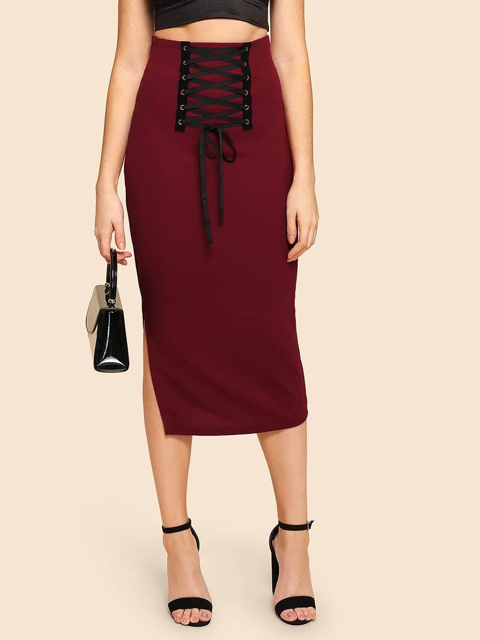Grommet Lace Up Split Midi Юбка
