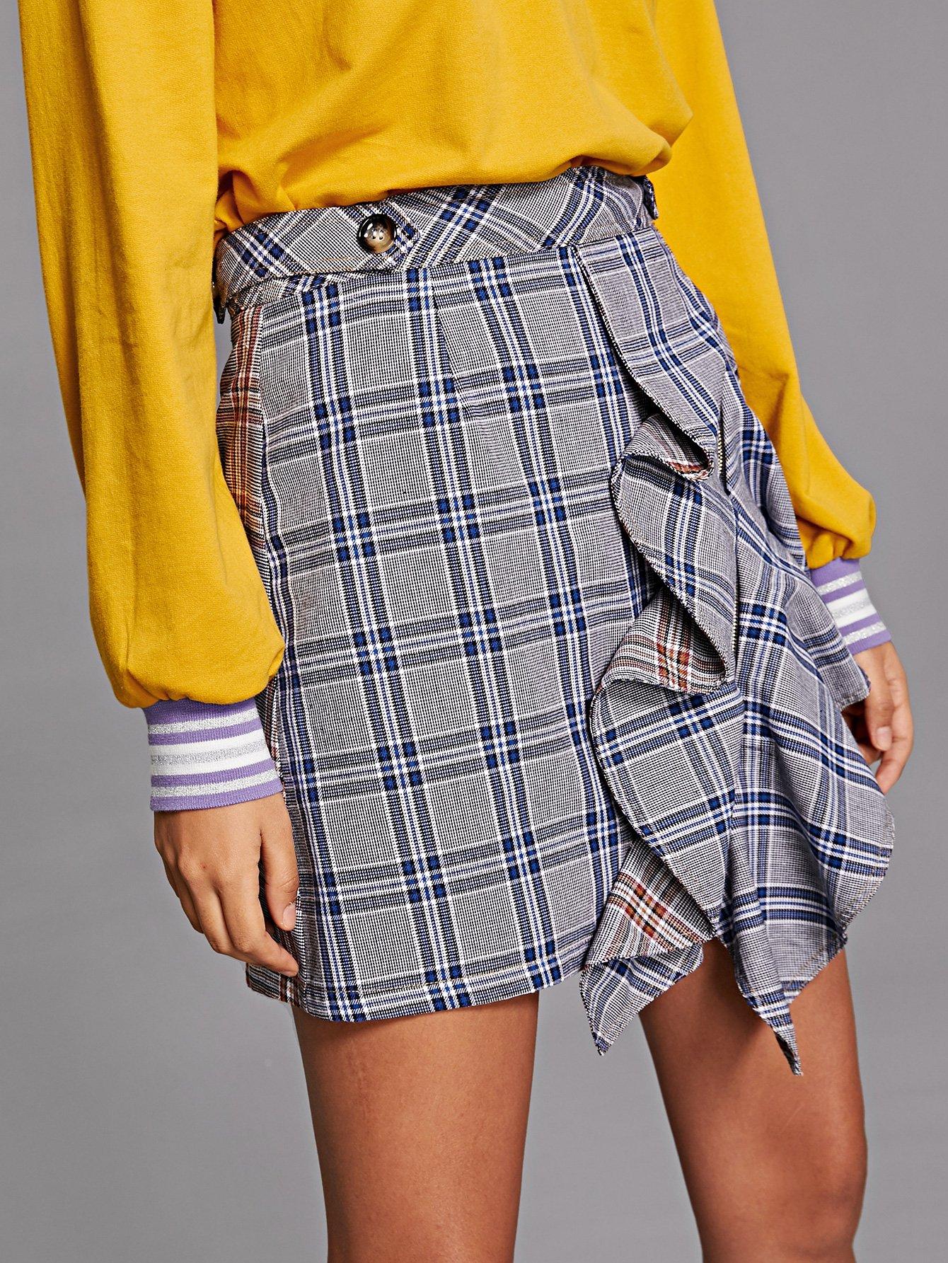 Ruffle Trim Zip Back Plaid Skirt split back plaid skirt