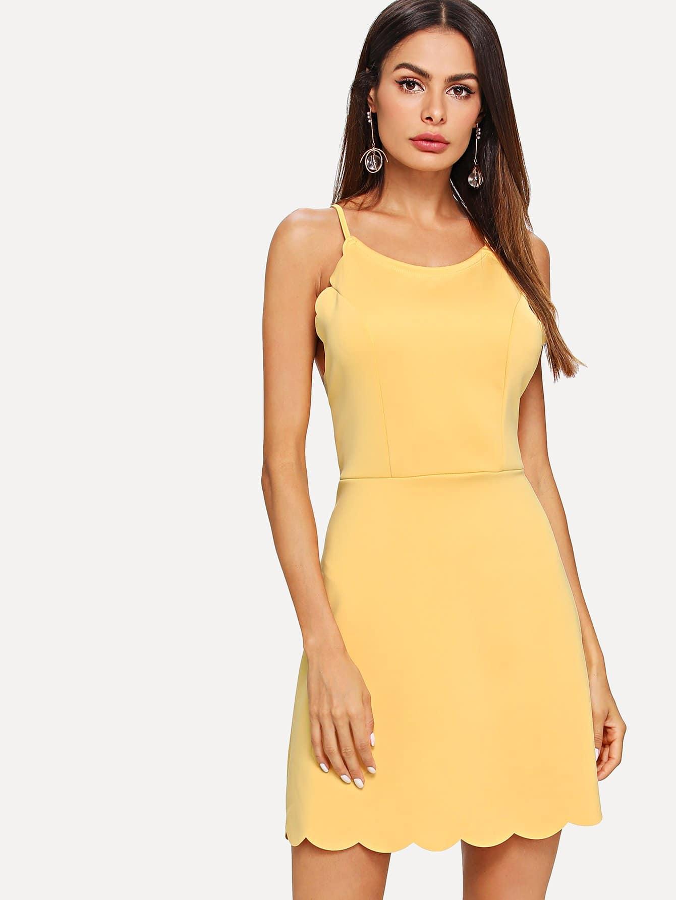 Fit & Flare Scalloped Trim Cami Dress