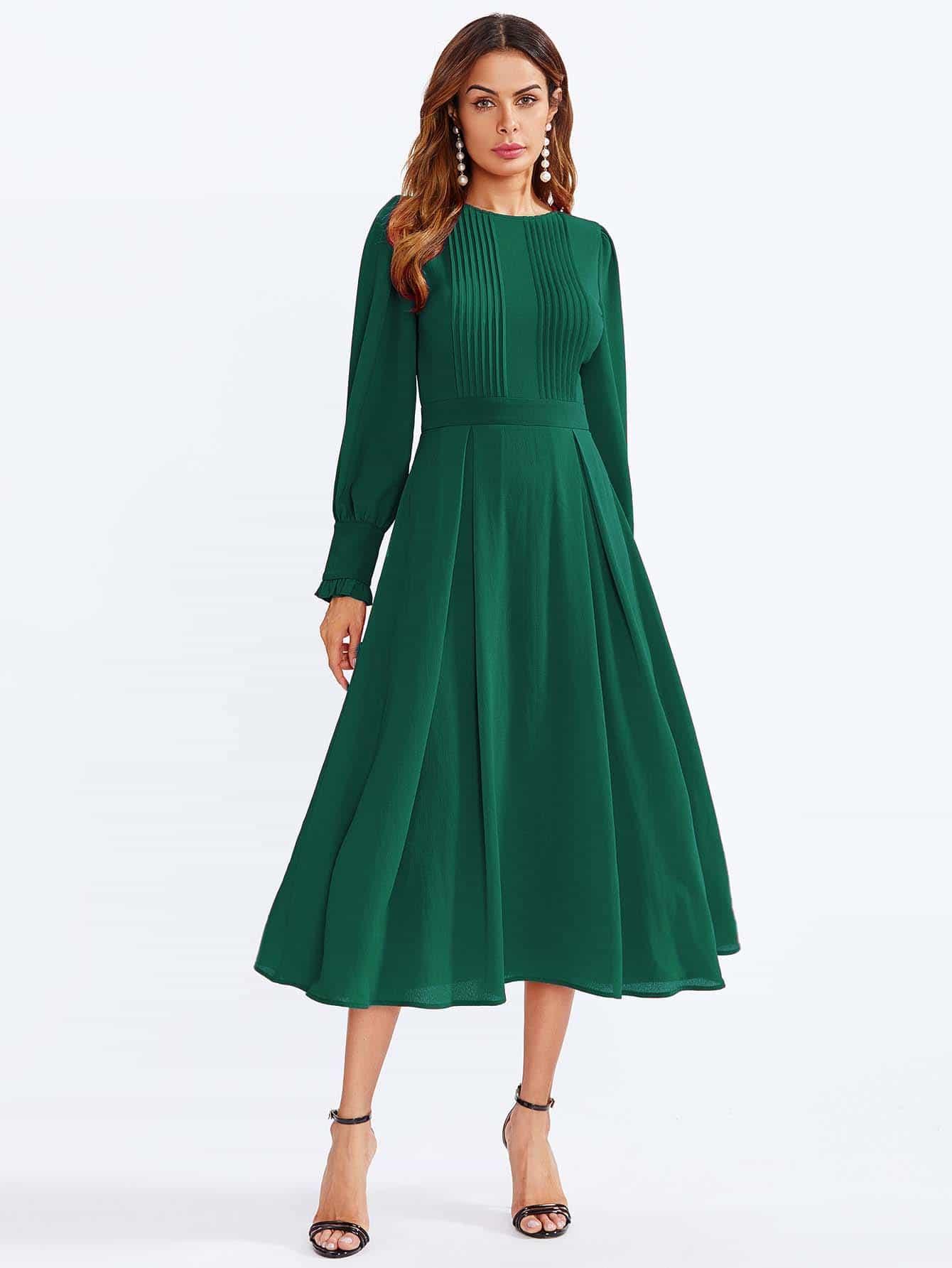 Купить Обжаренная епископская рукава с плетением Fit & Flare Dress, Andy, SheIn
