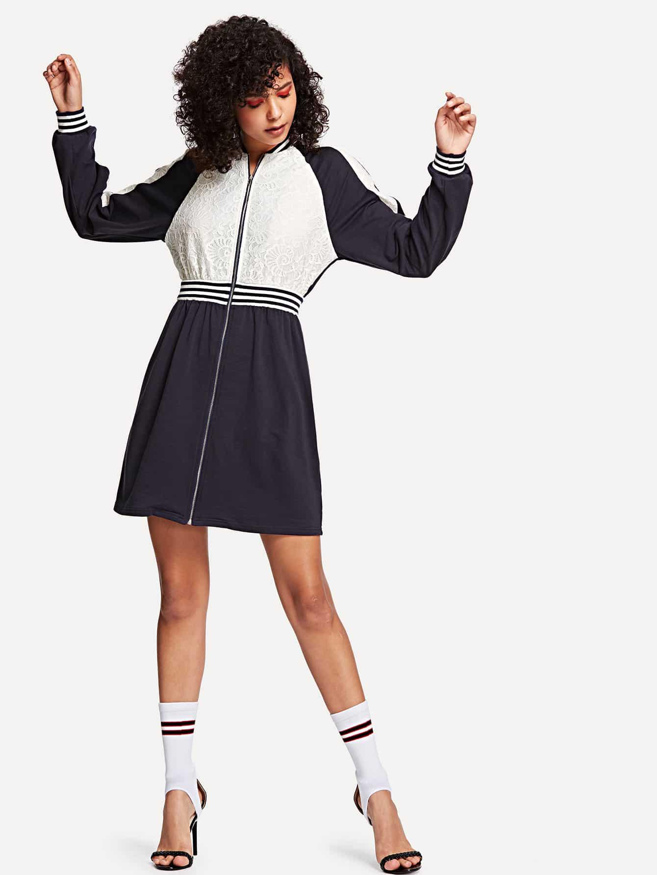 Купить Платье с рукавами реглан с кружевами, Starl Lane, SheIn