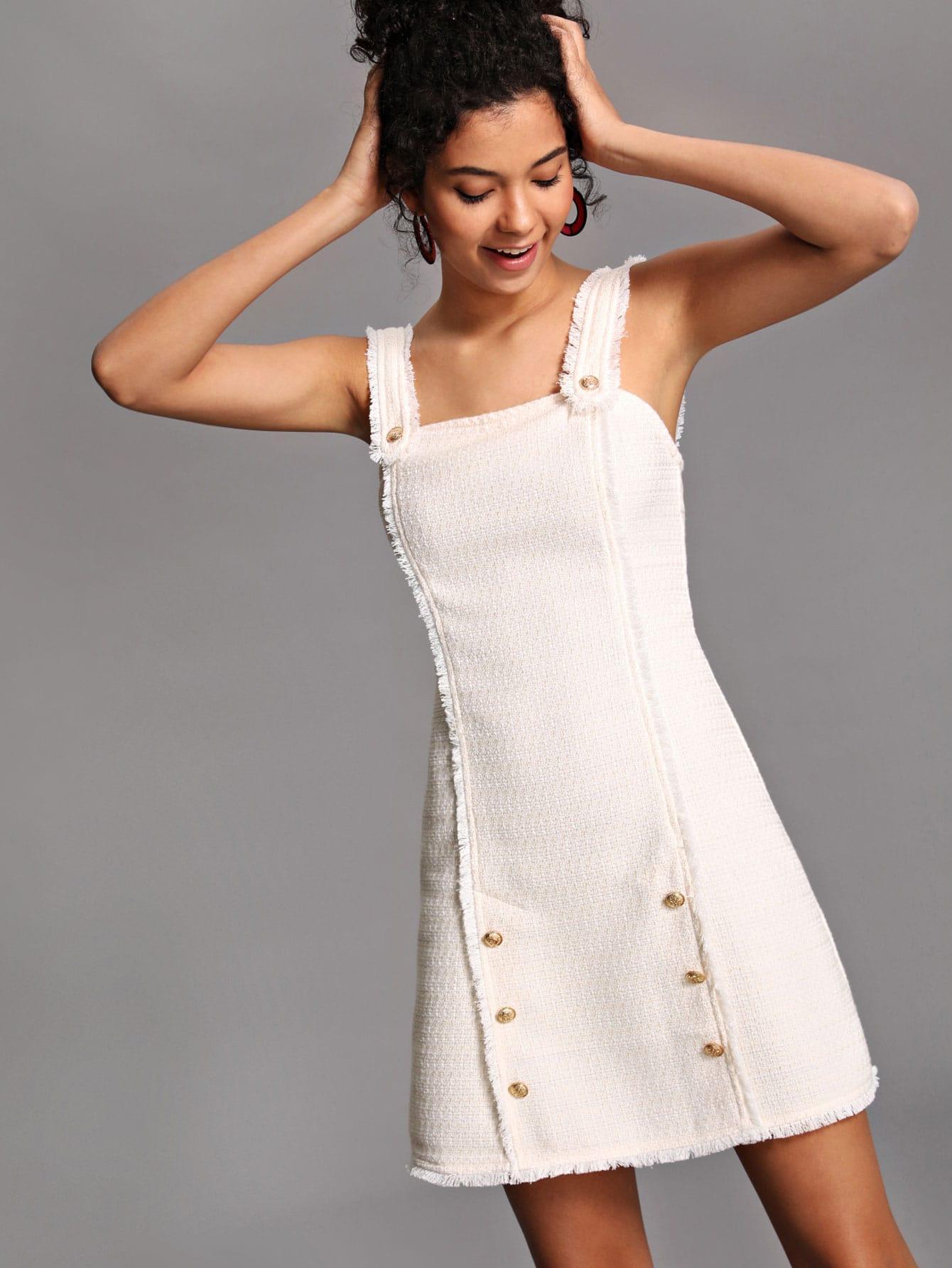 Button Detail Raw Edge Tweed Dress rhinestone detail frayed edge tweed skirt