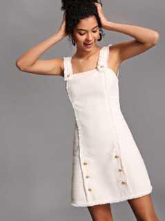 Button Detail Raw Edge Tweed Dress