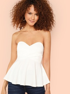 Sweetheart Wrap Front Bandeau Peplum Top